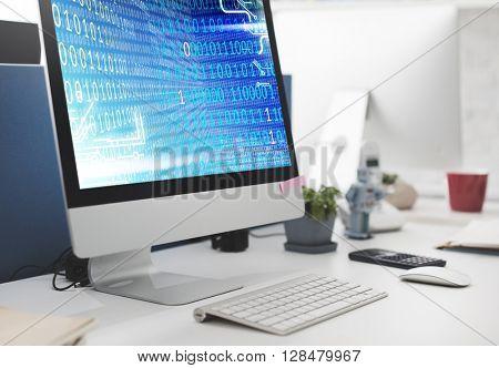 Binary Code Computer Screen Blue Concept