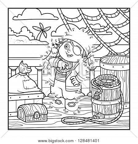 Numbers Game For Children. Pirate On The Deck Of A Ship