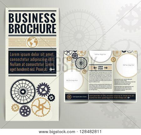 Business Vintage Brochure Flyer Design Template. Vintage style with classic colours.