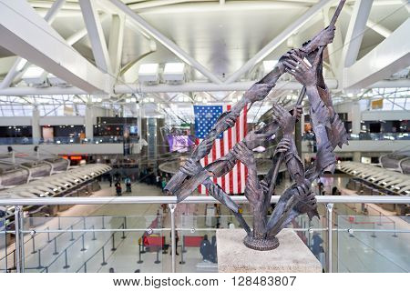 NEW YORK - MARCH 13, 2016: inside of JFK airport. John F. Kennedy International Airport is a major international airport located in Queens, New York City, United States.