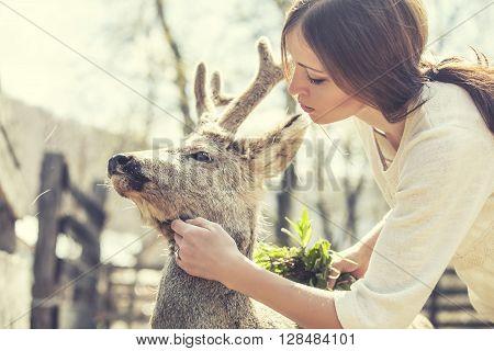 Young Beautiful Woman Hugging Animal Roe Deer In The Sunshine