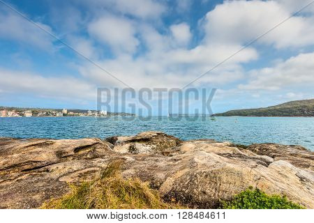 Manly beach coastline with sandstone rocks - Manly cove Sydney Australia