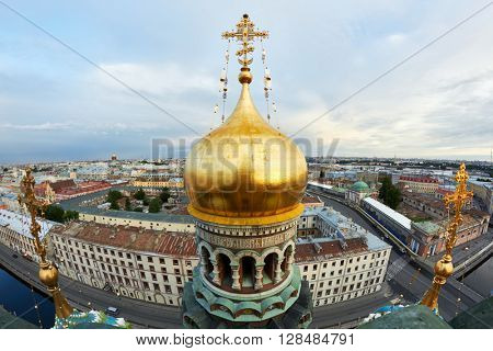 Closeup cupolas and crosses of Church of Our Saviour on Spilled Blood or Resurrection of Christ Spas-na-krovi in Saint-Petersburg.