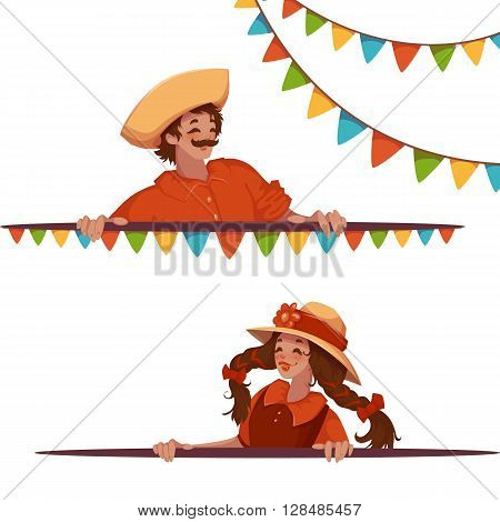 Vector banners with girl and boy at Brazilian Festa Junina Party.