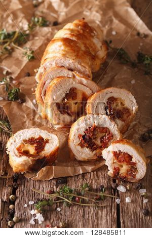 Chicken Fillet With Cheese And Sundried Tomatoes Close-up. Vertical