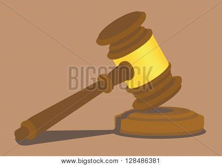 Wooden hammer hitting on a small wooden sound block. Vector illustration isolated on plain background.