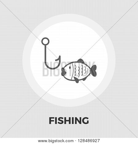 Fishing icon vector. Flat icon isolated on the white background. Editable EPS file. Vector illustration.