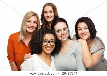 friendship, fashion, body positive, diverse and people concept - group of happy different women in casual clothes