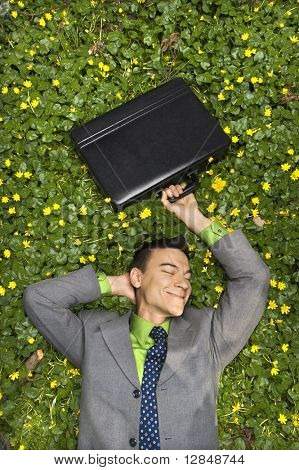 Young businessman holds his briefcase above his head and smiles while lying in a bed of flowers. Vertical shot.