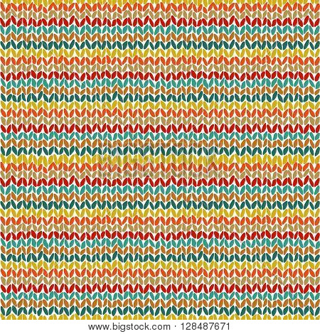 Knitted colorful seamless texture. A vector .