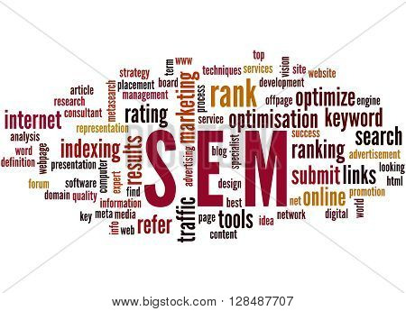 Sem, Search Engine Marketing Optimization Word Cloud Concept 4