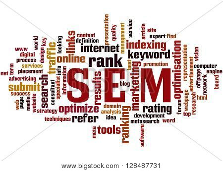 Sem, Search Engine Marketing Optimization Word Cloud Concept 8