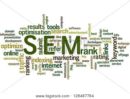Sem, Search Engine Marketing Optimization Word Cloud Concept 9