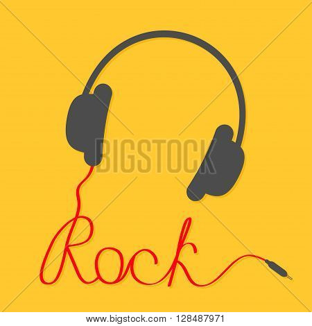 Black headphones with red cord in shape of word rock. Music card. Flat design icon. Yellow background. Vector illustration