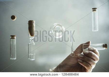 glass table with test tubes for laboratory work. close-up