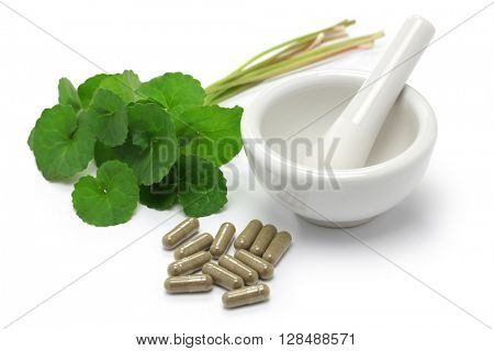 gotu kola, asiatic pennywort, centella asiatica, medicine capsule, mortar and pestle