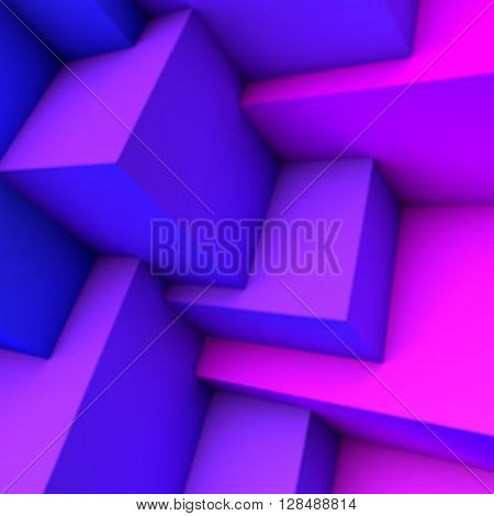 Abstract background with blue gradient 3D cubes