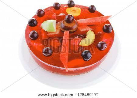 sweet cold red jelly cake with cherry and watermelon