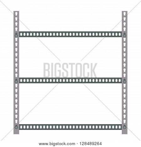 Empty metallic storage shelves. Storage Flat design. Storage Vector illustration. Warehouse storage icon isolated on white background