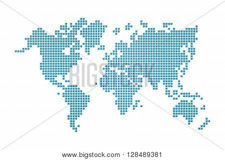 World map ( pixel style ) on white background