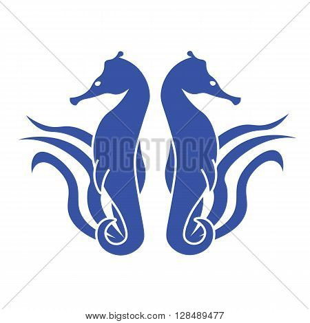 Two blue seahorses. Vector sea horse on a background of algae. Cute seahorse outline. Seahorse ocean life.