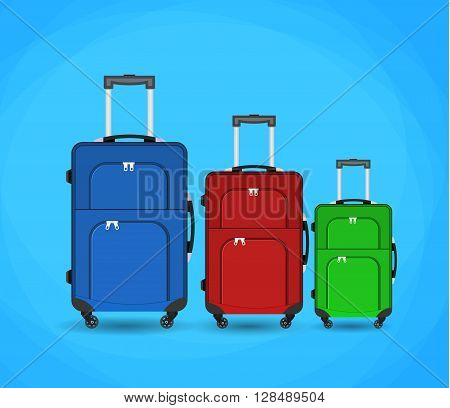 three Travel bag vector illustration. Travel bag isolated on background. Travel bag symbol. Travel bag. Travel bag for traveling. Travel bag vector. Summer time, vacation, travel