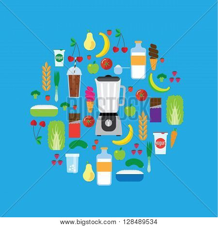 Modern blender and the ingredients for a smoothie. The circular composition. The background is blue.
