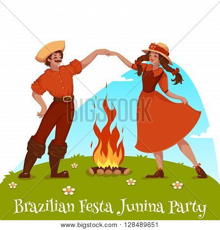 Girl and boy dancing at Brazilian Festa Junina Party. Vector illustration.