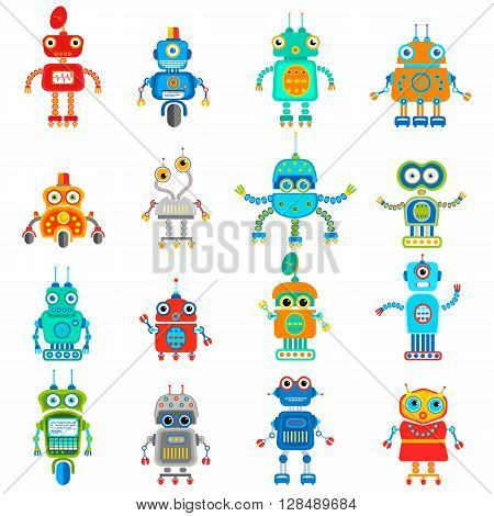 Vector set of retro robots in flat style, vintage cute robots. Toy robots vector