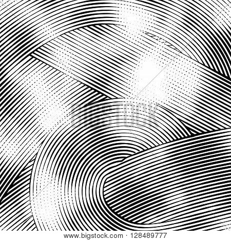 Abstract woodcut styled background with waves of lines