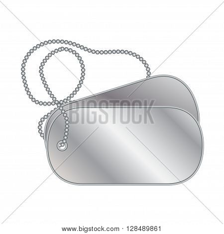 Dog tags with a chain isolated on white background.