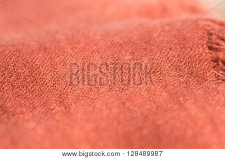 Textile Background Terracotta Color With Fringe Close Up
