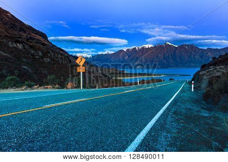 beautiful scenic of lake hawea in south island new zealand once of destination to journey and visiting