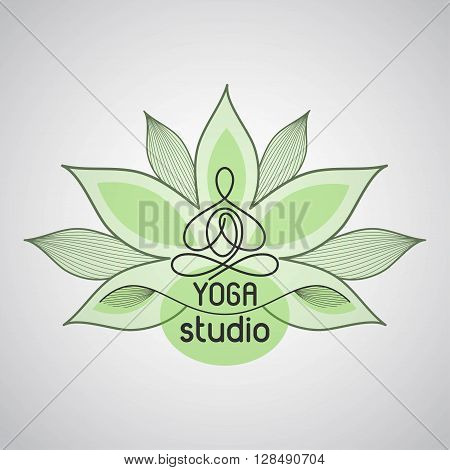 emblem lotus pose on the background of flower petals for a yoga studio
