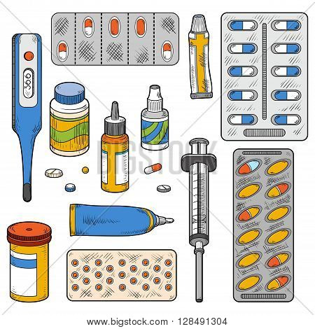 Vector color set of medical items (medical instruments tablets pills drugs syringe thermometer vector color elements)