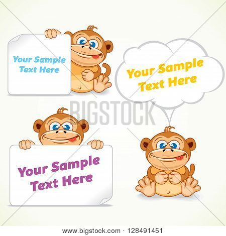 Funny Cartoon Monkey with Various Banners. Vector Image Ready for Your Text and Design.