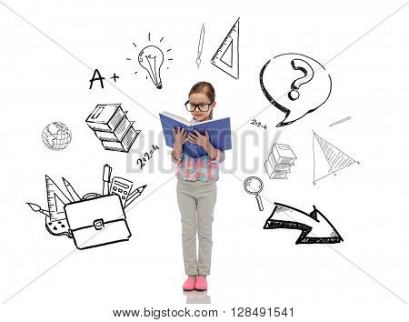 childhood, school, education and people concept - happy little girl in eyeglasses reading book with doodles