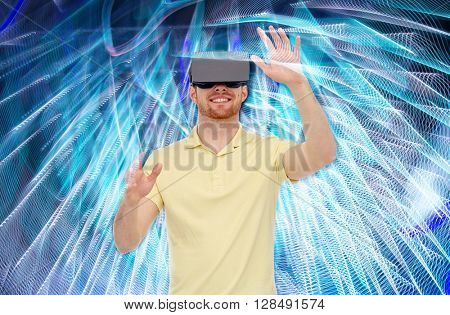 3d technology, virtual reality, entertainment and people concept - happy young man with virtual reality headset or 3d glasses playing game over spiral neon lights background