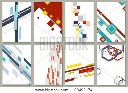 Abstract minimal geometric brochure template design set. Vector tech backgrounds collection for print flyers, brochure, web graphic design or booklet