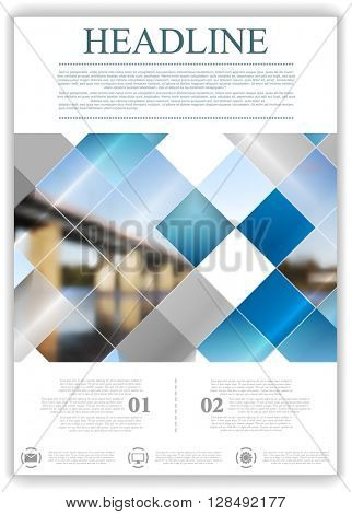Abstract geometric brochure template layout with bridge landscape. Vector background for print flyers, brochure, web graphic design or booklet