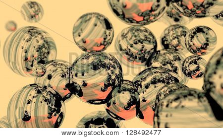 Large group of mirror orbs or pearls levitation in empty space. 3D rendering