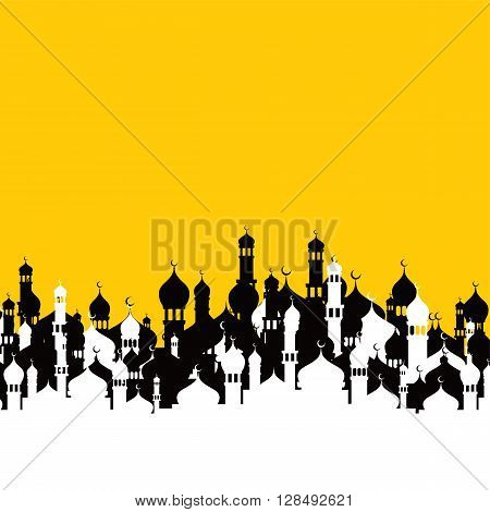 islamic mosque pray theme vector art illustration