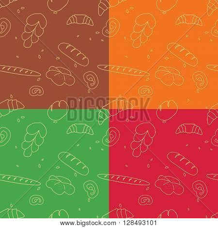 Vector set of bakery seamless pattern backgrounds.