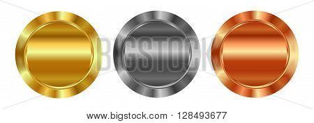 Vector set of blank templates of gold silver bronze which can be used as labels buttons coins medals