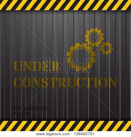 Under Construction  signage on Container Background in Gray Colour
