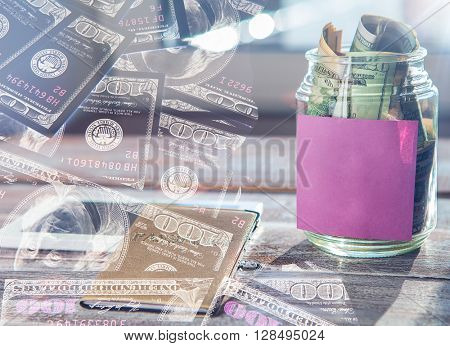 Double exposure. money background