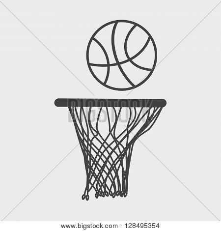 Basketball Icon Or Sign. Design Element Ball And Basket