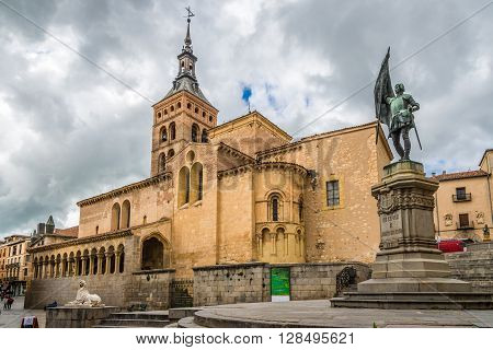 SEGOVIA,SPAIN - APRIL 22,2016 - Place San Martin with church of San Martin.San Martin is Romanesque in style and contains one of the most beautiful Romanesque atriums in Spain.