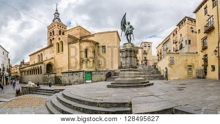 SEGOVIA,SPAIN - APRIL 22,2016 - Place San Martin with church of San Martin.St.Martin is Romanesque in style and contains one of the most beautiful Romanesque atriums in Spain.
