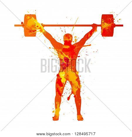 weightlifter. Watercolor splash paint illustration on white background